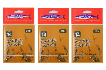 3 x Packets of Wilson Size 14 Brass Barrel Fishing Swivels - 30 Pieces - Polished Brass Swivels
