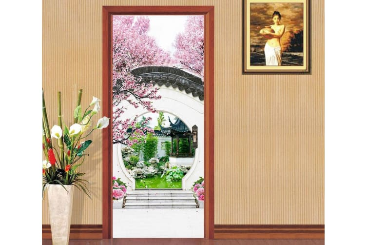 3D Classical Courtyard Arch Flower Tree Pond Door Mural Woven paper (need glue), XL 205cm x 80cm (HxW)(81''x31'')