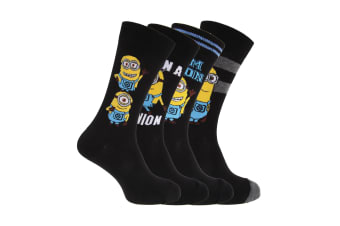 Despicable Me Mens Minions Ankle Socks (Pack Of 4) (Black / Grey)