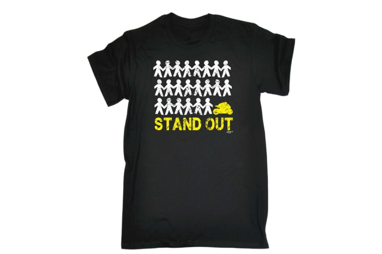 123T Funny Tee - Stand Out Speedmoto - (X-Large Black Mens T Shirt)