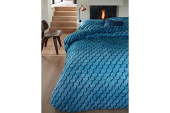 Layered Tones Blue Quilt Cover Set King