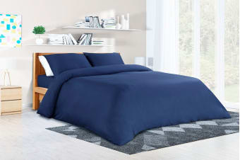 Ovela 400TC 100%  Bamboo Quilt Cover Set (Queen, Ocean Blue)