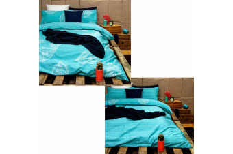 Paize Turquoise Reversible Quilt Cover Set Queen