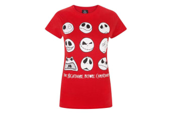 Nightmare Before Christmas Womens/Ladies Jack Expressions Red T-Shirt (Red)