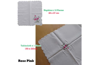 Embroidered White Table Cloth + 12 Matching Napkins Rose Pink