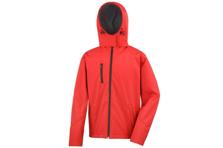 Result Core Mens Lite Hooded Softshell Jacket (Red/Black) (XL)