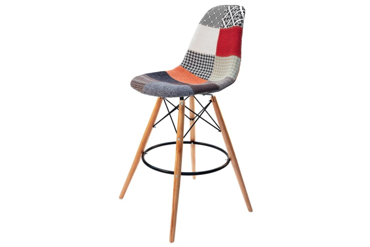 Replica Eames DSW Bar / Kitchen Stool | Multicoloured Patches Fabric Seat | Natural Wood Legs