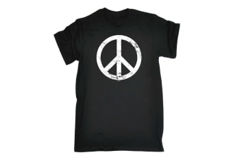 123T Funny Tee - Peace Sign - (3X-Large Black Mens T Shirt)