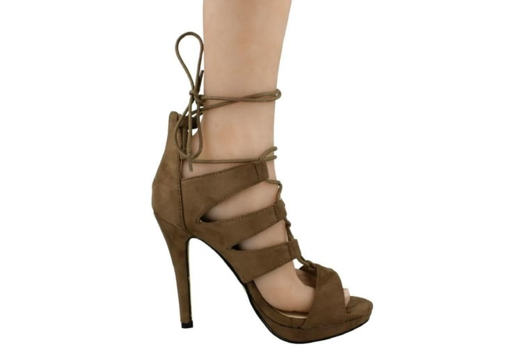 Anne Michelle Womens/Ladies Stiletto High Heel Peep Toe Lace Up Shoes (Taupe) (5 UK)