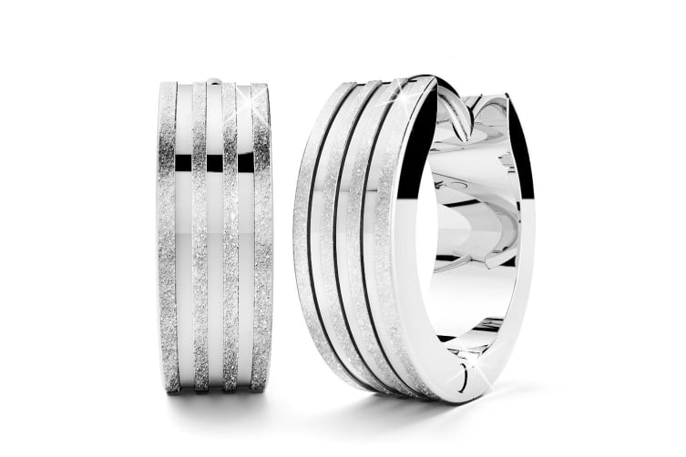 Boxed Angel Textured Earrings And Bangle Set In White Gold