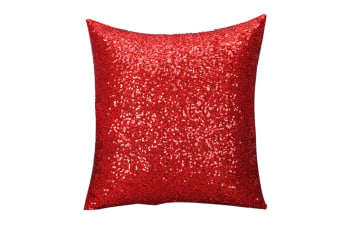 Decorative Glitzy Sequin & Comfy Satin Solid Throw Pillow Covers 18 Inch Square Pillow Case Red