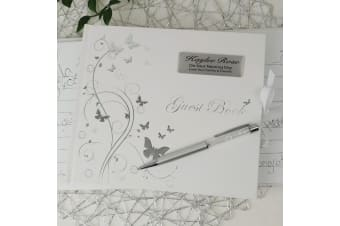 Naming Day Personalised Guest Book White Silver Butterfly