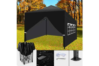 3x4.5m Pop Up Folding Gazebo Marquee BLACK