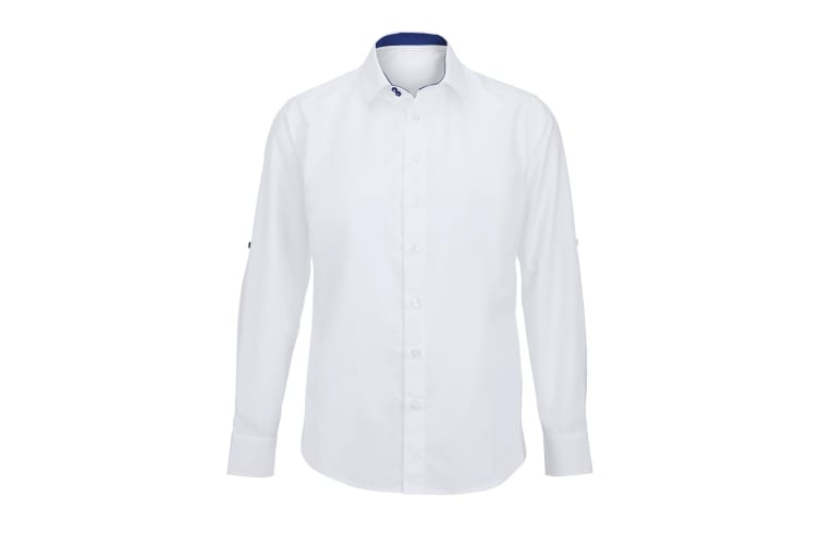 Alexandra Mens Roll Sleeve Hospitality Work Shirt (White/ Royal) (2XL)