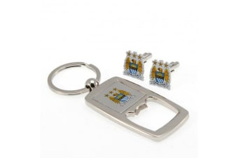 Manchester City FC Cufflinks And Keyring Bottle Opener Set (Silver)