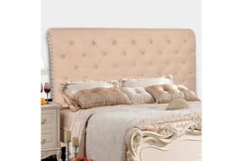 King French Stylish Bed Head Board Frame Headboard Upholstered Fabric - Beige