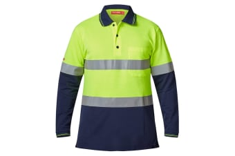 Hard Yakka Men's Hi-Vis Two Tone Taped Long Sleeve Polo (Yellow/Navy)