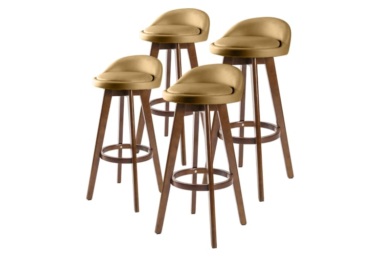 4x Oak Wood Bar Stool 72cm Leather LEILA - COFFEE BROWN