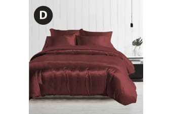 Double Size Silky Feel Quilt Cover Set-Burgundy