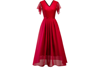 Women'S Short Sleeve V-Neck Long Evening Dress Wine Red Xl