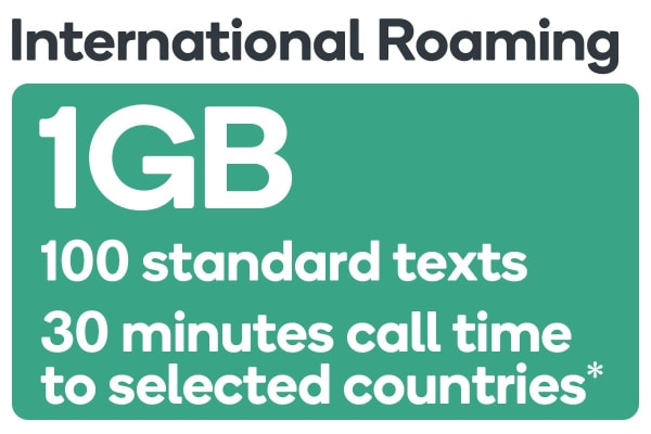 Kogan Mobile Prepaid Voucher Code: International Roaming Pack (30 Minutes | 100 Texts | 1GB)