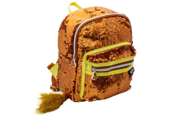 Glitter Critters Catch Me Sequin Kids Backpack w/Compartments/Straps Lion