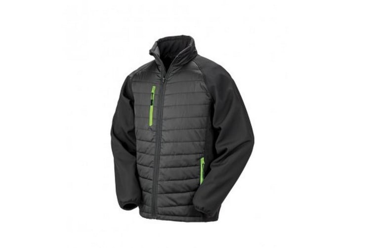 Result Mens Black Compass Padded Soft Shell Jacket (Black/Lime) (M)