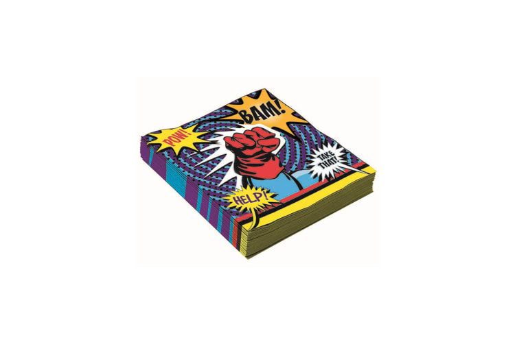 Bristol Novelty Super Hero Party Napkins (Pack Of 8) (Multicoloured) (Small)