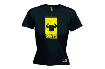 SWPS Gym Bodybuilding Tee - Flexing Arms Design - Black Womens T Shirt