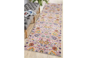 Multi Floral Field Vintage Look Runner 400X80cm