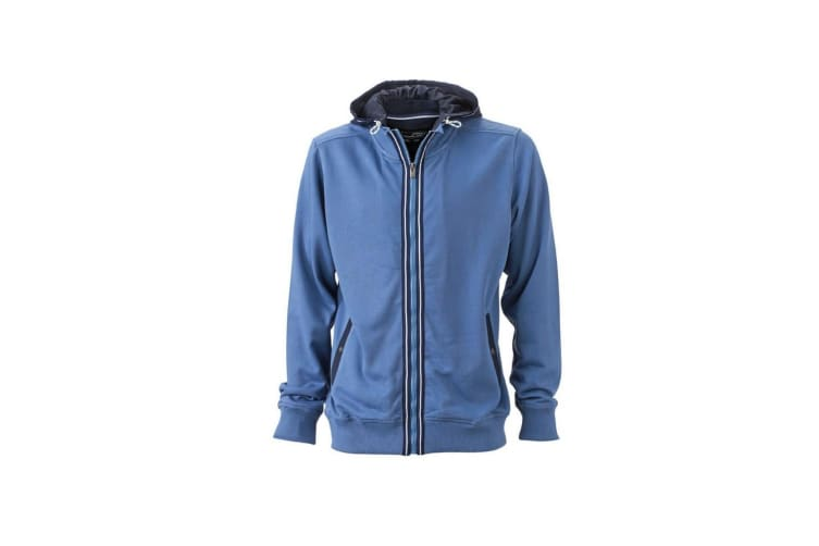 James and Nicholson Mens Contrast Zip Hooded Jacket (Denim Blue/Navy) (XL)