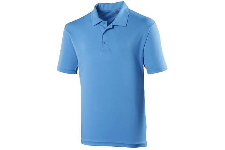 Just Cool Mens Plain Sports Polo Shirt (Sapphire Blue) (S)