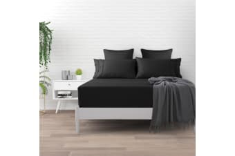 500 TC Cotton Sateen Fitted Sheet Queen Bed - Charcoal