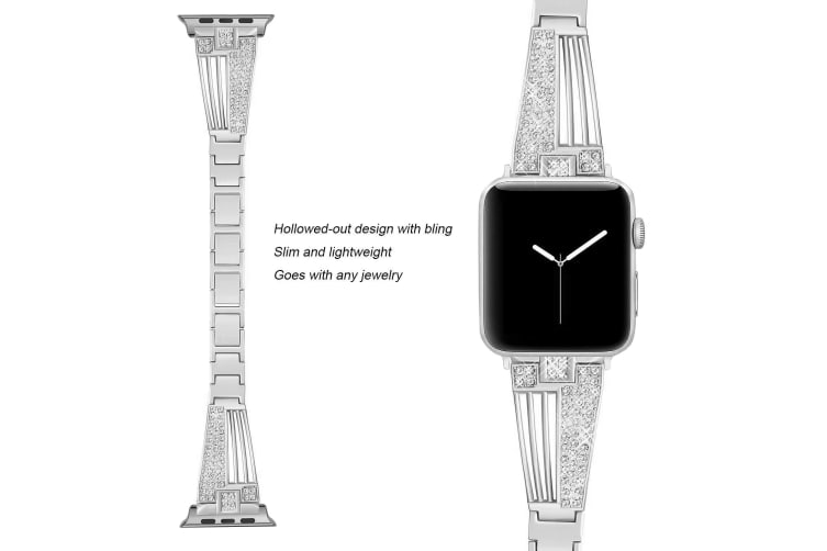 Suitable For Apple Watch Fan-Shaped Stainless Steel Alloy Flash Drill Strap-42/44mm-SILVER
