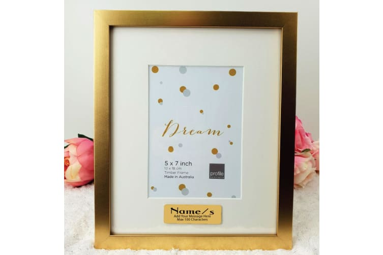 Christening Gold 5x7 Photo Frame with Personalised Message