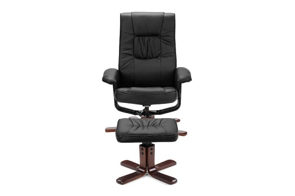 Ovela Faux Leather Recliner Chair with Ottoman (Black)