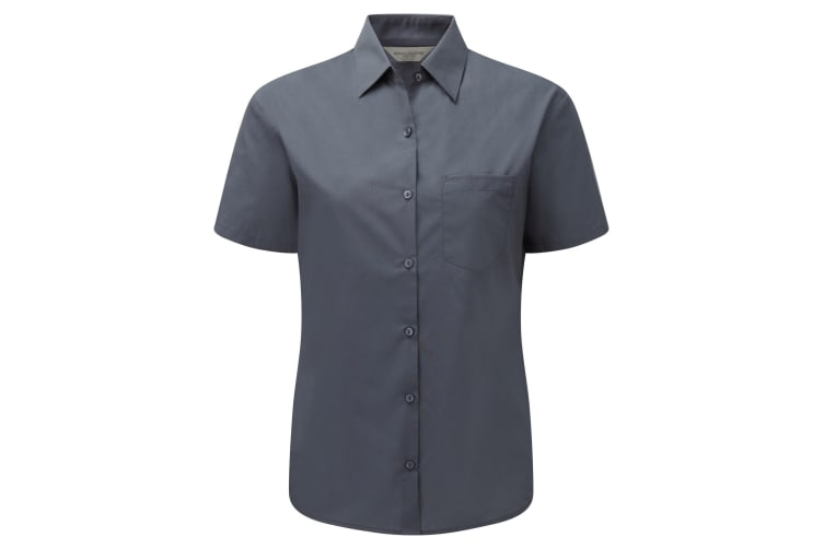 Russell Collection Ladies/Womens Short Sleeve Poly-Cotton Easy Care Poplin Shirt (Convoy Grey) (L)