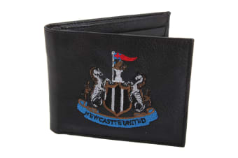 Newcastle United FC Mens Official Leather Wallet With Embroidered Football Crest (Black)