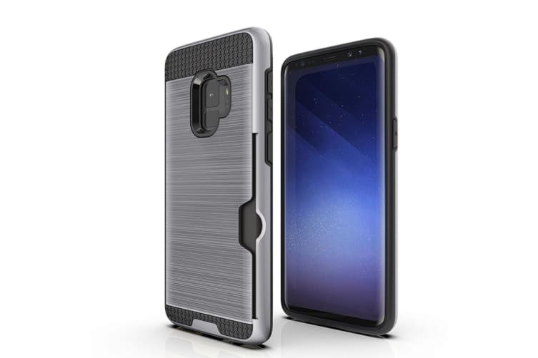 Silver Brushed Armour Card Slot For Samsung Galaxy S9 Case
