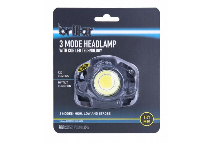 LED Headlamp Head Torch Light Flashlight Rechargeable Lamp 120 Lumens BLACK