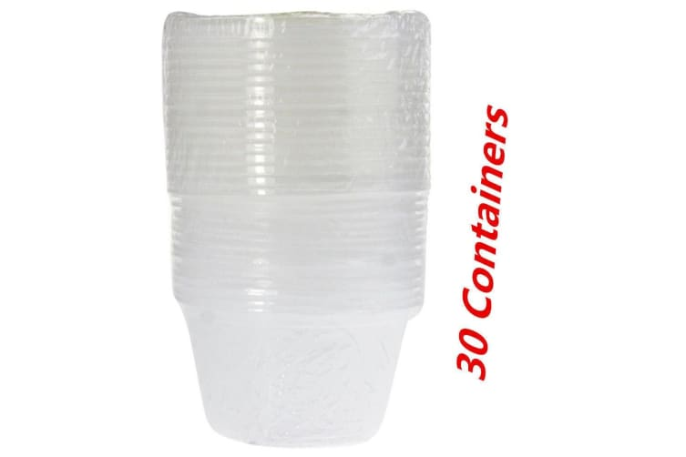 30 x Plastic Round Dipping Sauce Disposable Small Container Cups Lids Takeaway 100ml