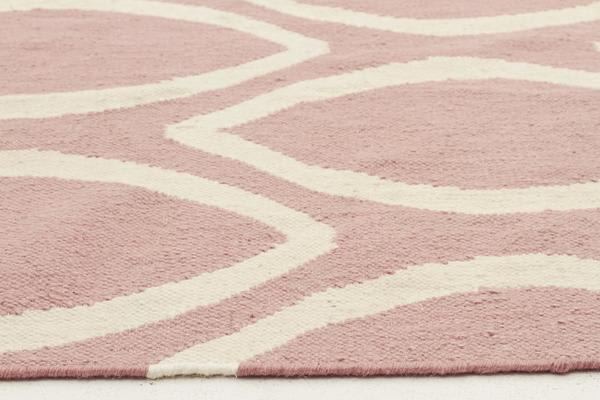 Flat Weave Oval Print Rug Pink 225x155cm