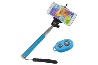 Bluetooth Remote Control Extendable Selfie Stick Monopod Iphone Samsung Htc Blue