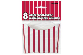 Unique Party Treat Boxes (Pack Of 8) (Red Stripes) (One Size)