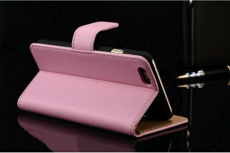 For iPhone 8 PLUS 7 PLUS Wallet Case Elegant Slim Luxury Leather Cover Pink