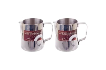 2x Casa Barista 600ml Stainless Steel Milk Coffee Latte Frothing Cup Pitcher Jug