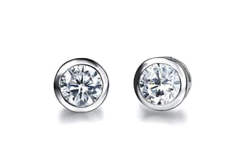 Classic Allure Earrings-White Gold/Clear