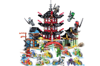 Children'S Assembled Building Blocks Puzzle Toy Building Blocks Temple+Ninja Motorcycle