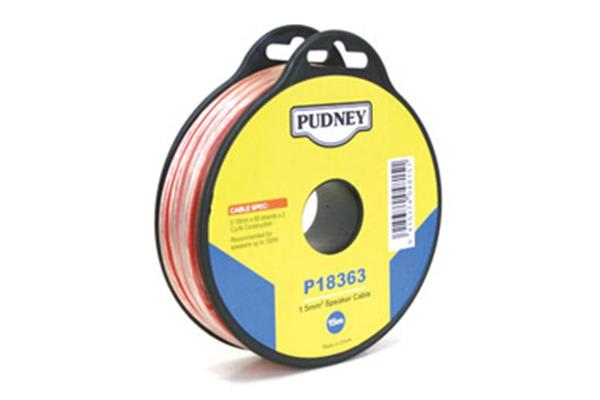 Pudney Speaker Audio Wire 1.5mm - Clear/Red - 15m Speaker Cable