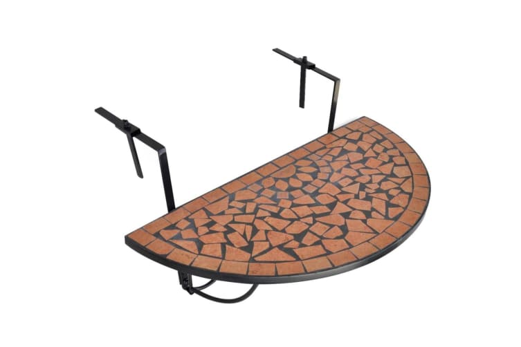 vidaXL Hanging Balcony Table Terracotta Mosaic